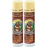 Badger Lip Balm Stick-Vanilla Madagascar, 2 pack