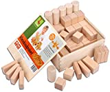 CreaBLOCKS Holzbausteine natur Kleinkindpaket 54 unbehandelte Bauklötze ab 6 Monate