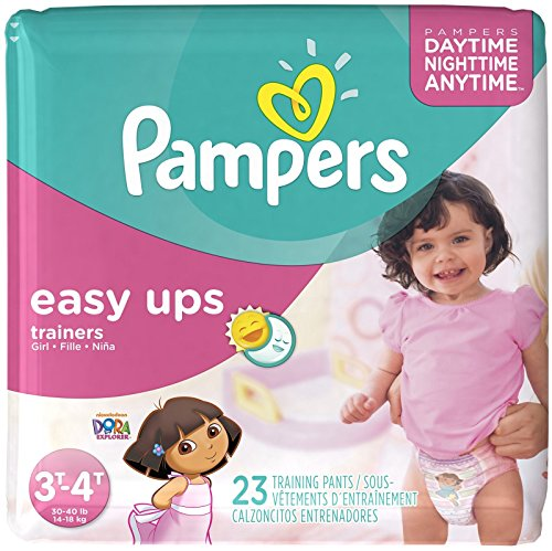 Pampers Easy Ups Trainers For Girls Size 3T-4T, 23 CT (Pack of 4) - 1
