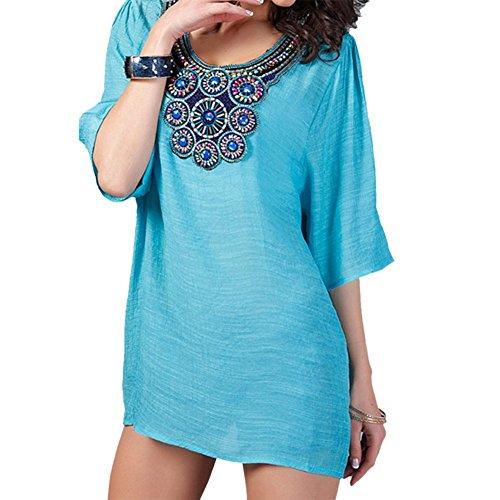 Ksweet Elegante Camicia donna autunno Camicetta in contone Boho Ricamo blusa donna manica lunga