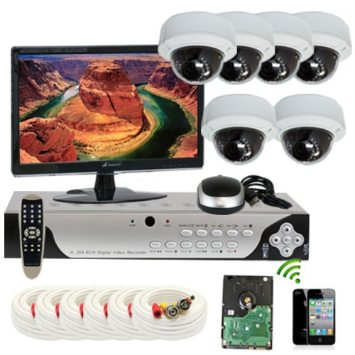 Gw Security Inc 6Che3 8 Channel H.264 960H & D1 Realtime Dvr With 6 X Sony Ccd 700 Tvl Vari-Focal Lens Security Camera System, Free Led Monitor (White/Black)