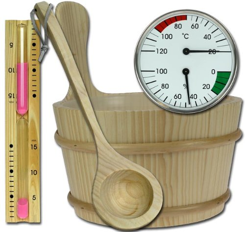 SAUNA-SET-5tlg-Kbel-Kelle-Sanduhr-Thermometer-Hygrometer-Modell-ELECSA-9991