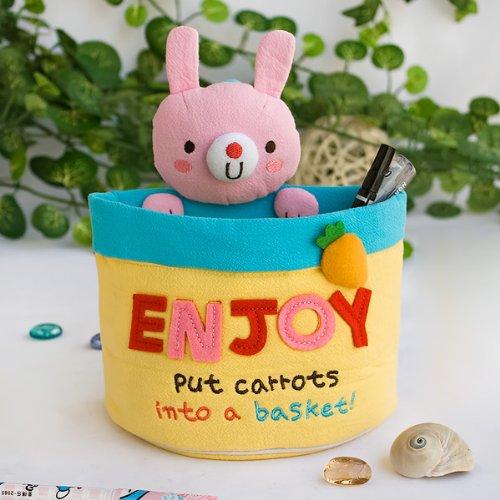 [Rabbit & Carrots] Embroidered Applique Wall Organizer / Hanging Organizer / Storage Box (6*7*3.5)