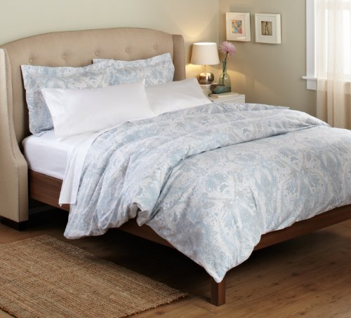 Buy Discount Pinzon 100-Percent Cotton Printed Duvet Set, Full/Queen, Blue Paisley
