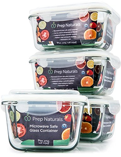 [Premium] Glass Meal Prep Containers [4-Pack] Microwave, Freezer & Oven safe - Food Storage with SmartestLock Lids [Comparable to Glass Tupperware Container Set ] by Prep Naturals (Small Oven Glass compare prices)