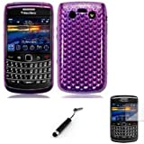 Gel Case Cover Shell And Screen Protector For Blackberry 9700 9780 Bold / Purple Design