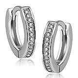 Gandhi Jewellers Sterling Silver CZ Studded Huggie Earrings Pretty Earrings 1 Line.