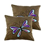 Art Decor Swede Grey Manpho Tiny Butterfly Kids Cushion Cover Set Of 2 (16X16 Inches)