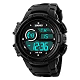 Aposon Mens Digital Outdoor Electronic Waterproof Wrist Sport Watch with Shock Resist LED Display 164ft 50M 5ATM Water Resistant Multifunctional Calendar Date and Day LED Back Light Alarm – Black