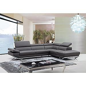 Amazon.com: VIG- Quebec Divani Casa Modern Dark Grey Leather Sectional