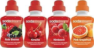 SodaStream 4er Sirup-Packung für Fruchtschorle: Rote Beeren Mix, Kirsche, Himbeer, Pink Grapefruit (4 x 375ml)