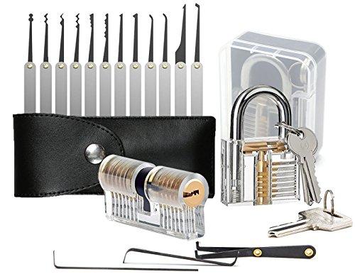 Geepro Kit de selecciš®n de cerraduras de 15 piezas con 2 cerraduras de entrenamiento, cerradura Herramienta de extracciš®n de llaves + candados de ejercicios transparentes para cerrajeršªa