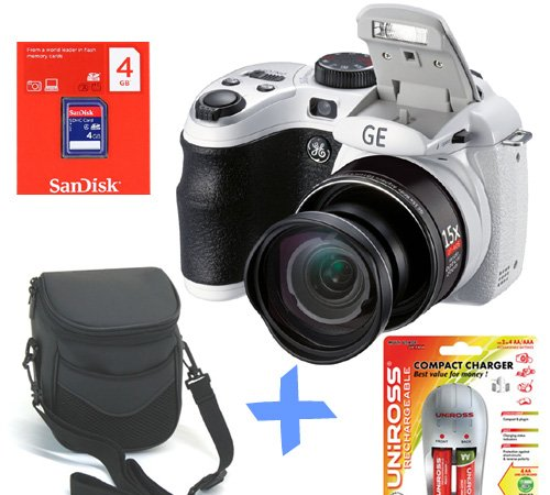 Bundle: GE X550 Power Pro Digital Camera +4GB +NiMh Batteries  &  Charger +Soft Case (16MP, 15x Optical Zoom, 27mm Wide-Angle, 2.7