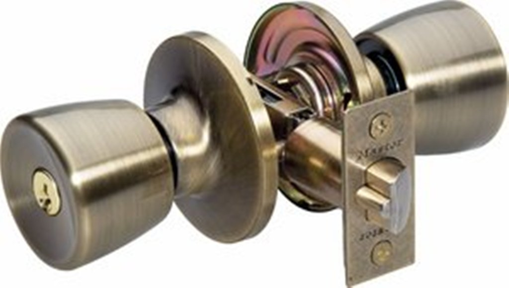 Master Lock TUO0105 Tulip Keyed Entry Door Knob Antique Brass New Free Sh