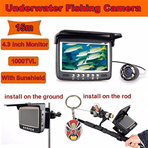 "Eyoyo 15m 4.3"" Lcd 1000 TVL Monitor Underwater Ice Sea Fishing Camera Add Multifunctional Bracket Night Vision Fish Finder with Peking Opera Keychain"