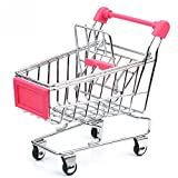 Topunion 1pc Mini Simulation Of Supermarket Shopping Trolley Mold Cute Stainless Steel Mini Supermarket Handcart...