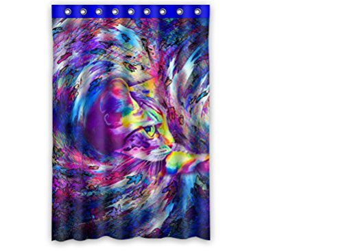 """Custom Polyester Shower Curtain 48"""" X 72"""" Cat Painted Animal Pattern Colorful front-844433"""