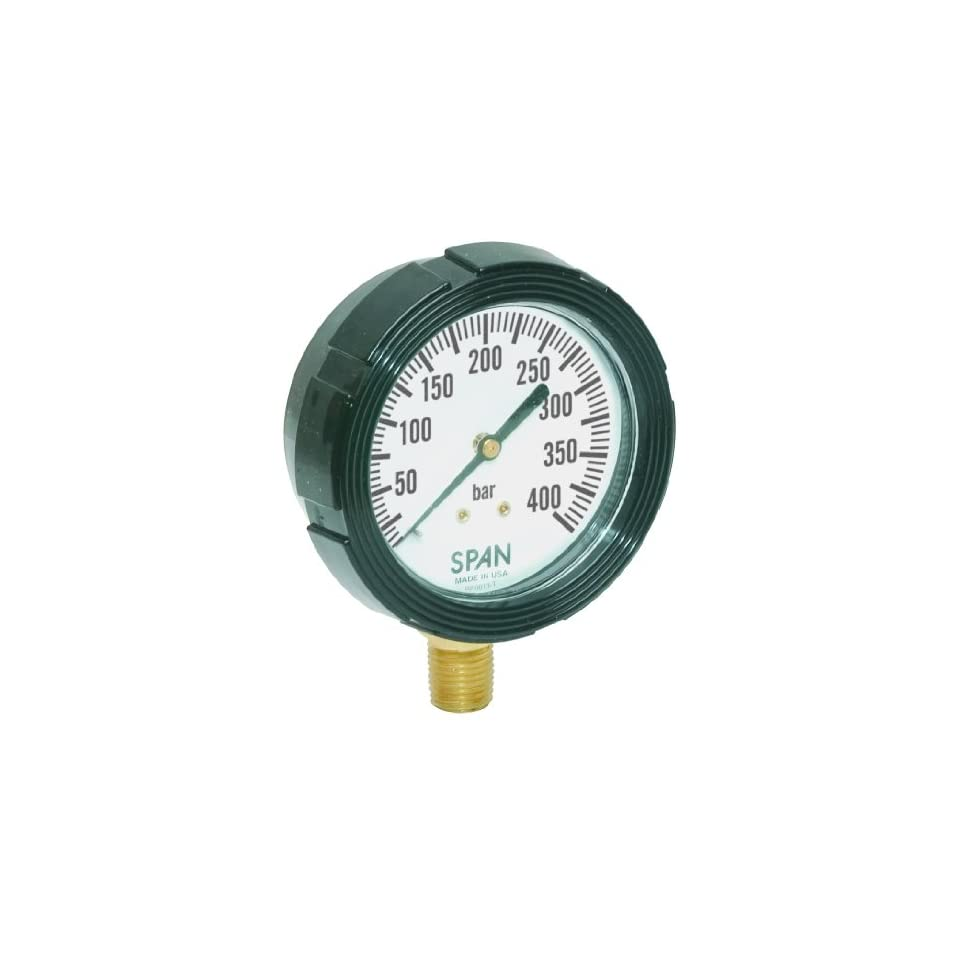 SPAN LFS 210 250 BAR G LFS 210 BAR Series Liquid Filled Single Scale Industrial Vacuum Pressure Gauge, Metric Bar Range Dial, 0 to 250 Bar Pressure Range