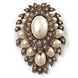 Amazon.com: Oversized Vintage Corsage Imitation Pearl Brooch (Antique