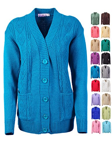 New Classic Womens Cardigan Ladies Sizes 10-20 Cable Knit Long Sleeve Aran Type (M, Mid Blue)
