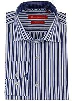 Gino Valentino Mens Modern 100% Cotton Dress Shirt White Blue Striped