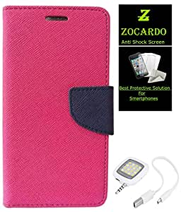 Zocardo Fancy Diary Wallet Flip Case Cover For Sony Xperia Sp -Pink + Glass Screen Protector+ Flash For Mobile