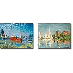Views of Boats at Argenteuil by Claude Monet 2-pc Premium Gallery-Wrapped Canvas Giclee Art Set (Ready-to-Hang)