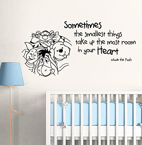 Wall Decal Vinyl Sticker Decals Art Decor Design Cartoon Winnie Pooh Sometimes The Smallest Things Lettering Kids Nursery Bebroom (R1170) front-836805