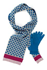 Per Una Spotted Scarf & Gloves Set with Angora [T01-0529P-S]