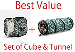 Set of Ninja Cat Cube and Tunnel/the Best Cat Toy (Green)
