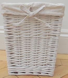 Blanca cesta de mimbre juguetería forrado o almacenamiento caña de residuos de papel alineando Tamaño pequeño