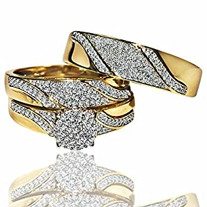 His and her rings Trio wedding set Yellow gold 0.5ct diamonds Mens and womens from MidwestJewellery