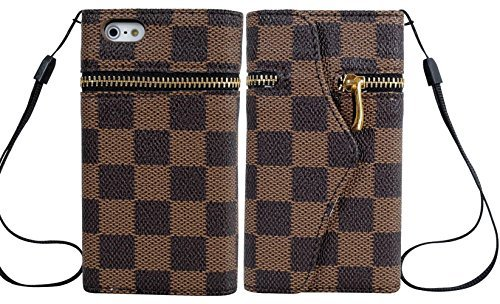 Mylife Brown Checkered And Zipper Design - Textured Koskin Faux Leather (Card And Id Holder + Magnetic Detachable Closing) Slim Wallet For Iphone 5/5S (5G) 5Th Generation Smartphone By Apple (External Rugged Synthetic Leather With Magnetic Clip + Internal front-327953