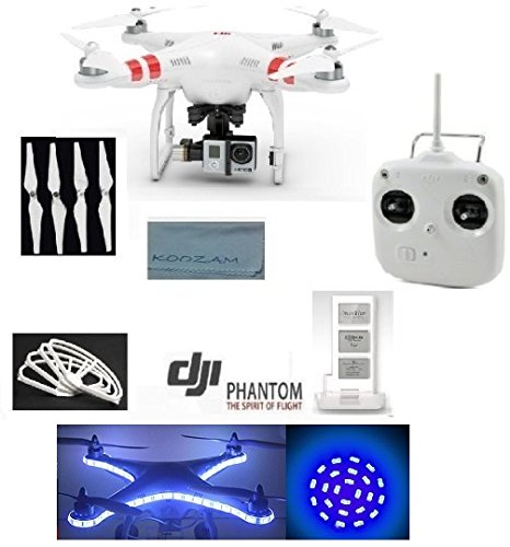 Dji Phantom 2 Ready To Fly Quadcopter - With Zenmuse H3-3D Camera Gimbal + Extra Dji 5200Mah Lithium-Polymer Battery+ Dji Extra Self-Tightening Propellers 4 Pack + Dji Prop Guards + Led Headlight And Light Strip + Koozam Cleaning Cloth Extra Value Bundle