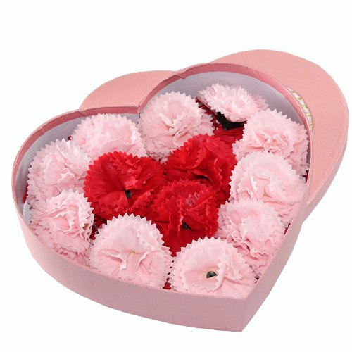 4Ever Carnation Bud Soap, 13 Pcs With Gift Card, Pink Red front-14073