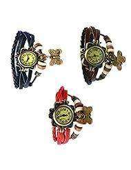 Felizo Combo Offer Pack Of 3 Multi Strap Fancy Butterfly Bracelet Vintage Watch (Black, Red & Brown)