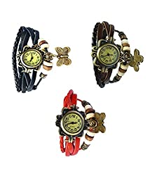 Felizo Multi Strap Butterfly Bangle Bracelet Vintage Fancy Watch Combo Offer - Pack of 3 (Black, Red & Brown)