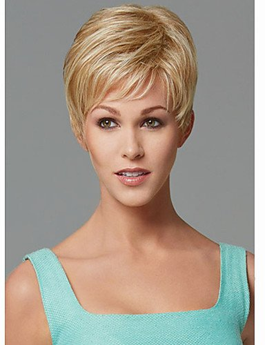 Wigs have an attractive convenience fashion Europe and the United States Short Blonde Straight Synthetic Wig Side Bang