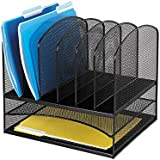 Safco Products 3255BL Onyx Mesh Desktop Organizer with 2 Horizontal/6 Upright Sections, Black