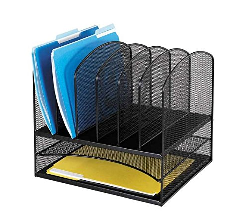 Safco Products 3255BL Onyx Mesh Desktop Organizer with 6 Verical/ 2 Horizontal Sections, Black
