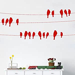 DeStudio Bird On Wire Chalkboard Wall Decal, Size XXX Large & Color : RED