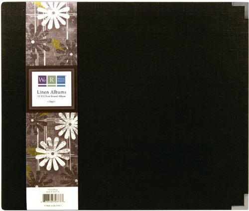 We R Memory Keepers We R Linen Postbound Album, 12-Inch-by-12-Inch, Onyx