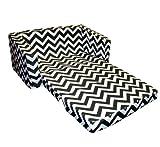 Newco Kids Chevron Flip Sofa, Black and White