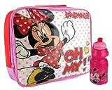 Childrens Kids Disney 2 Pc/3pc Lunch Bag Set Drink Bottle & Sandwich Box Picnic School Nursery - Mickey Mouse, Minnie Mouse, Fairies, Cars, Turtles, Batman, Spiderman (Minnie Mouse - Oh My (2pc))