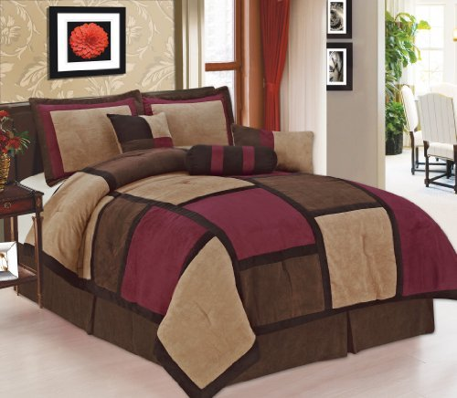 7 Pieces Burgundy Black & Beige Micro Suede Patchwork Comforter Bedding Set Machine Washable Queen Size Bed In Bag front-844279