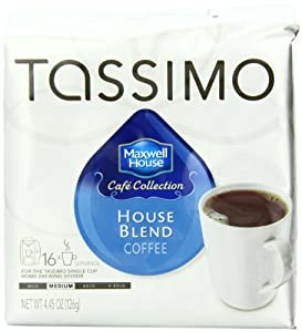 Maxwell House Cafe Collection House Blend Coffee (Medium), 16-Count T-Discs for Tassimo Coffeemakers (Pack of 2)