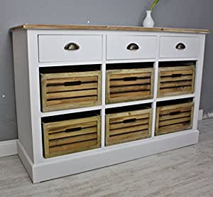 anrichte buffet sideboard wei braun massiv landhaus schrank kommode kisten neu. Black Bedroom Furniture Sets. Home Design Ideas