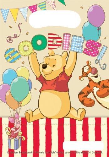 240509 Mini Partytüten Winnie Puuh, 6 Stück, Geburtstags Party Tüten, Mitgebsel Beutel