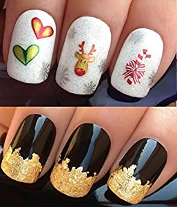 NAIL ART SET #838. A SHEET OF NAIL STICKERS & A LARGE GOLD LEAF SHEET FOR CUSTOM DESIGNED NAIL! - CHRISTMAS/XMAS/SEASONAL/HOLIDAY RUDOLPH THE RED NOSED REINDEER FACE/RED & WHITE STRIPE CANDY CANE STICK/SWEETS/SILVER SNOWFLAKES & RED & GREAT HEARTS 3D WRAP/STICKERS/DECALS & STUNNING 24KT GLIZZY GOLD LEAF FOR FULL HOLLYWOOD NAILS! ALL CAN BE USED WITH NATURAL/GEL/ACRYLIC/STICK ON NAILS! USE ALONE OR WITH GLITTER DUST/CAVIAR BEADS/ALLOYS/DECORATIONS/CONFETTI/FIMO SHAPES/TAPE/PENS/RHINESTONES - GET CREATIVE!