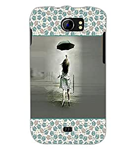 PrintDhaba Girl with Umbrella D-2616 Back Case Cover for MICROMAX A110 CANVAS 2 (Multi-Coloured)